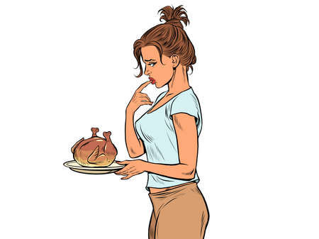 Woman with fried chicken or turkey, weight loss diet Иллюстрация
