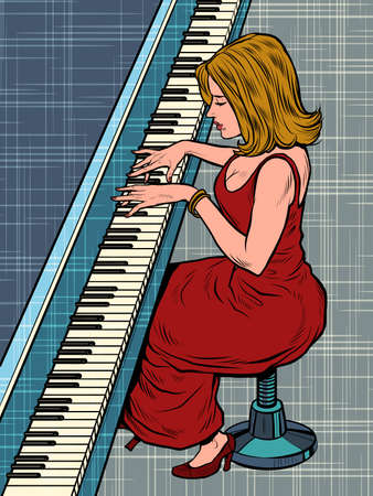 A woman plays the piano. Music and creativity. Jazz or classical artist Иллюстрация