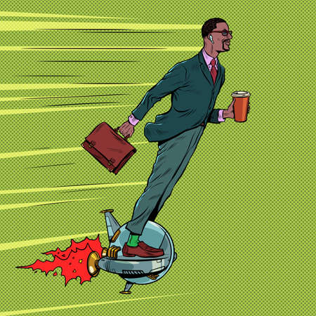 A futuristic black businessman rides an electric unicycle, a man drinks morning coffee