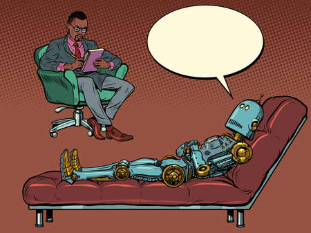 A black male psychotherapist at a psychotherapy session, listens to a robot patient, sits in a chair and makes notes in a notebook Иллюстрация
