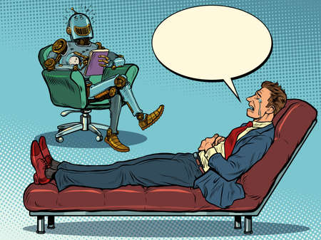 A robot psychotherapist at a psychotherapy session with a patient, laughs and listens to a businessman, sits in a chair and makes notes in a notebook Иллюстрация