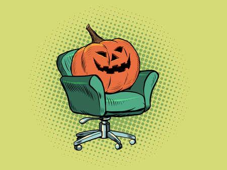 Halloween pumpkin is sitting in a chair. Interviews, home comfort. Seasonal holiday