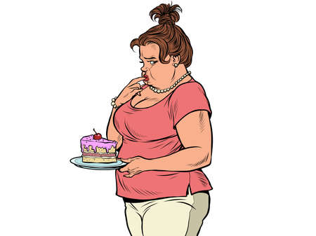 Fat woman with cake. Diet and human health. Criticism for being overweight and body positive Иллюстрация