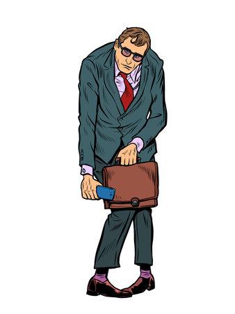 Sad businessman with a portfolio. Hard work, emotions and stress
