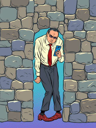 Businessman crushed by stones. Depression and pressure at work