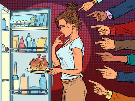 Woman with fried chicken or turkey, weight loss diet. shame condemnation of others Иллюстрация