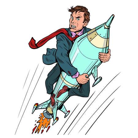A businessman flies on a rocket, a startup