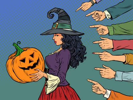 witch woman with pumpkin halloween, seasonal holiday, shame shaming bullying theme Иллюстрация