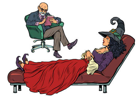 Halloween witch at a psychotherapy session, a psychologist doctor listens to a fairytale character. Isolate on a white background Иллюстрация