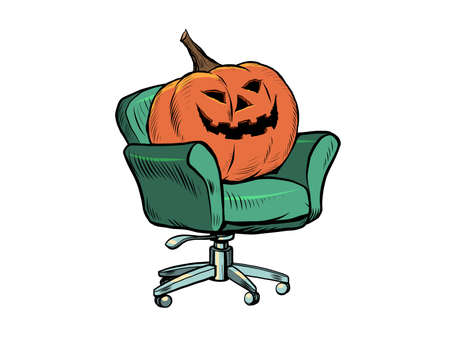 Halloween pumpkin is sitting in a chair. Isolate on a white background. Interviews, home comfort. Seasonal holiday