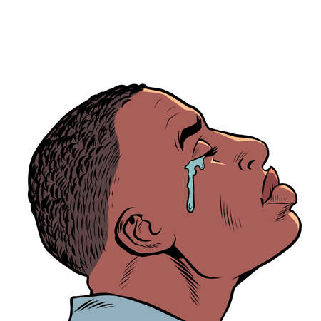 a crying black african man, Sad mood, sadness. human emotions