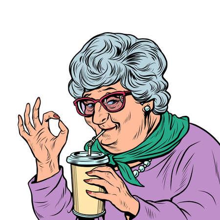 elderly woman granny drinks a drink, ok gesture