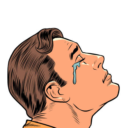 a crying man, human emotions. Sad mood, sadness