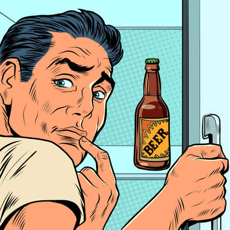 a man near the refrigerator with beer. Alcohol addiction Иллюстрация