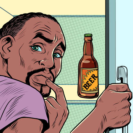 a black african man near the refrigerator with beer. Alcohol addiction