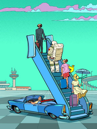 Tourists stand on the ladder to the plane. Lockdown and flight bans. Waiting for a vacation and travel Иллюстрация