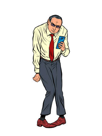 Businessman with a smartphone. A depressed person in a funny pose