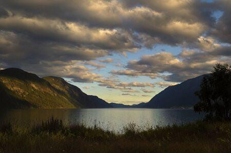 Sunset over Tinnsj�en (the lake Tinn) Stock Photo