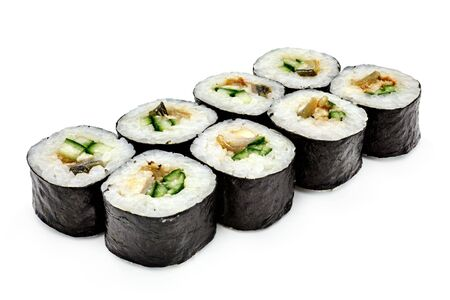 Japanese seafood sushi , roll on a white background, isolated