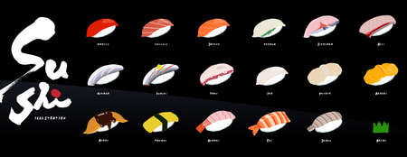 Menu for foreigners with handwritten sushi illustrations