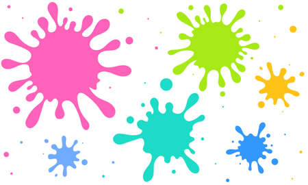 Cute vector illustration of scattered colorful ink and splash 矢量图像