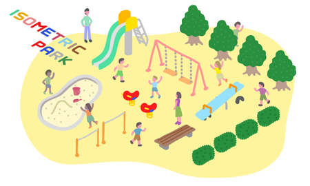 Vector illustration of the park that depicted in isometric  イラスト・ベクター素材