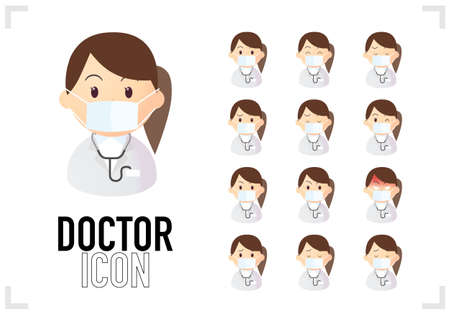 Female Doctor Bust-Up Icon Set