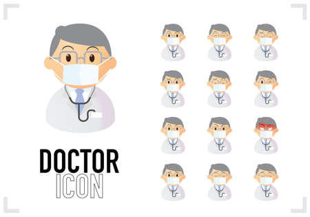 Bust-up icon set of male doctors