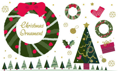 Handwritten vector illustrations of Christmas decorations