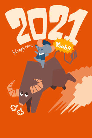 2021 New Year's card. Cows, Rats, and Rodeos