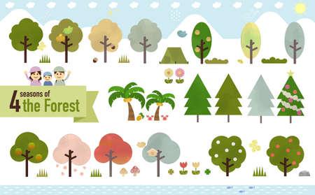 Set of natural materials graphics Ilustração