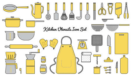 Vector illustration of kitchen utensils icon set with outline
