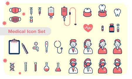 Medical icon set of simple design