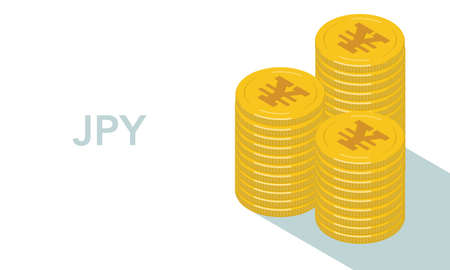 Vector illustration mark of the Japanese yen is piling up the coins engraved