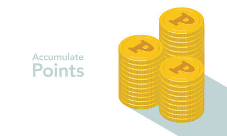Piled up vector illustrations coins point mark has been engraved