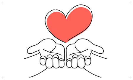 A simple touch of the vector illustrations of hand that hold out the heart