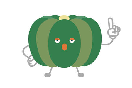 Vector illustration of simple and cute pumpkin character to point