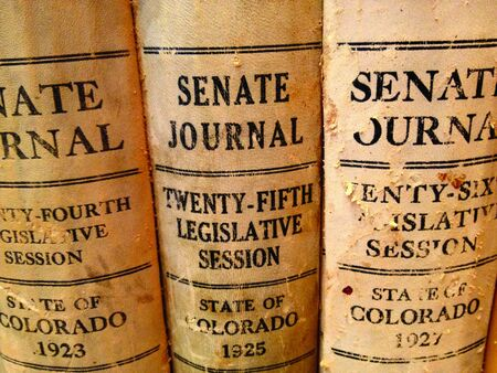 journals: Vintage U.S. senate government journals on display at local public library.