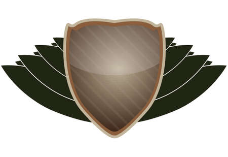 Natural looking shield and crest for a variety of official outdoor offices or uses. Illustration