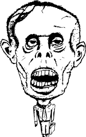 Hand drawn corporate zombie worker or employee in a suit holding a briefcase.