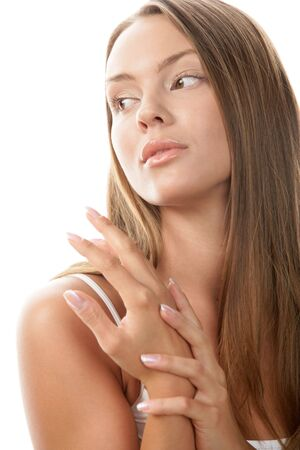 wistfulness: Woman massaging her hand