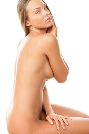 Portrait of young beautiful naked brunette