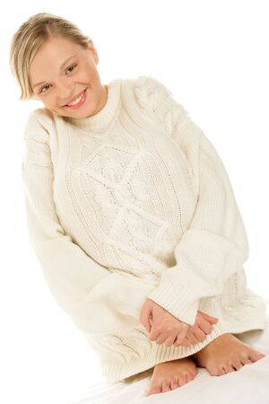 Content woman wearing woolly sweater photo