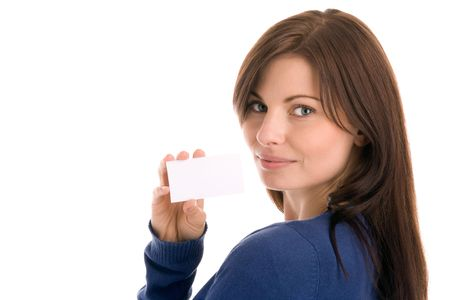 Portrait of young woman holding blank business card smiling Stock Photo - 5569748