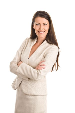 middle aged: Portrait of mature elegant woman wearing bright suit Stock Photo
