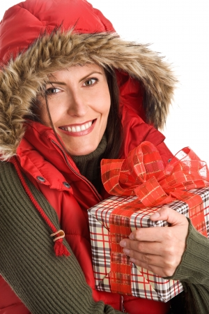 Portrait of mature beautiful woman holding gift photo