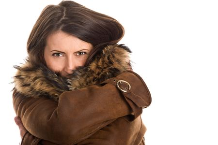 Portrait of attractive woman wearing sheepskin photo