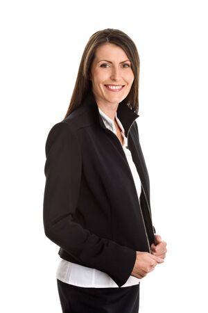 one mid adult woman: Mature elegant businesswoman wearing black suit Stock Photo