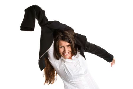 hurrying: Portrait of laughing businesswoman hurrying up. Rat race. Stock Photo
