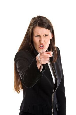 Pointing angry businesswoman holding somebody responsible Stock Photo